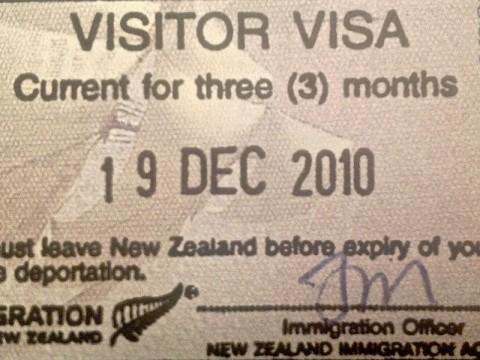 Besöksvisum inför resa till Nya Zeeland